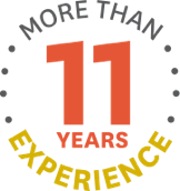 "The sentence ""MORE THAN 11 YEARS EXPERIENCE"" presented in a circular shape"