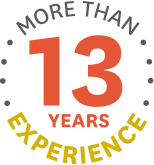 "The sentence ""MORE THAN 13 YEARS EXPERIENCE"" presented in a circular shape"